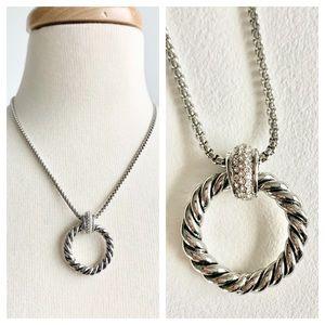 Braided pavé silver tone pendant chain necklace